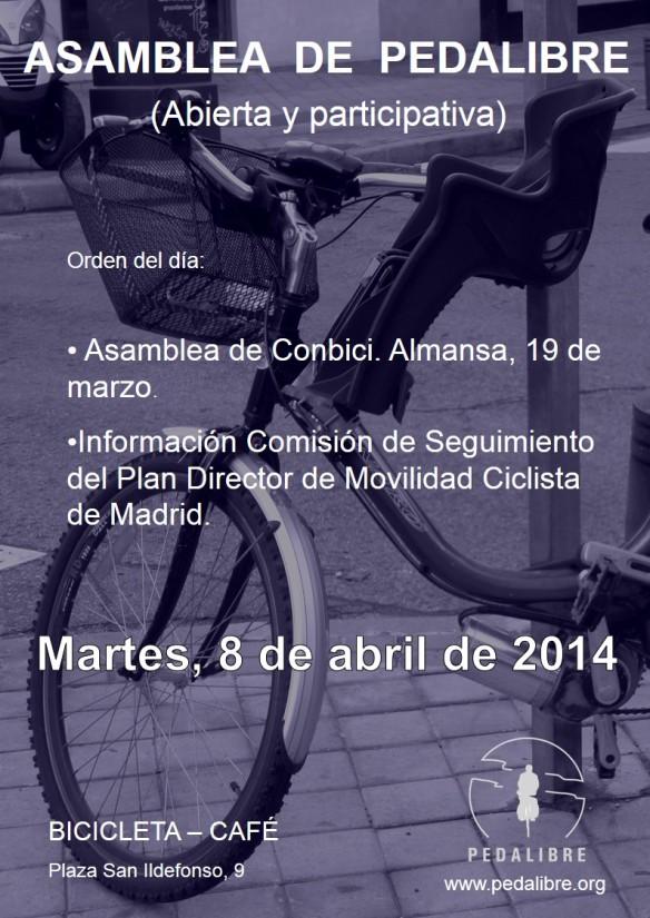 Cartel PEDALIBRE Asamblea 8 de abril de 2014