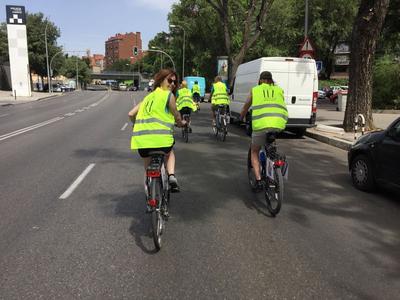 Ciclistas en Arganzuela