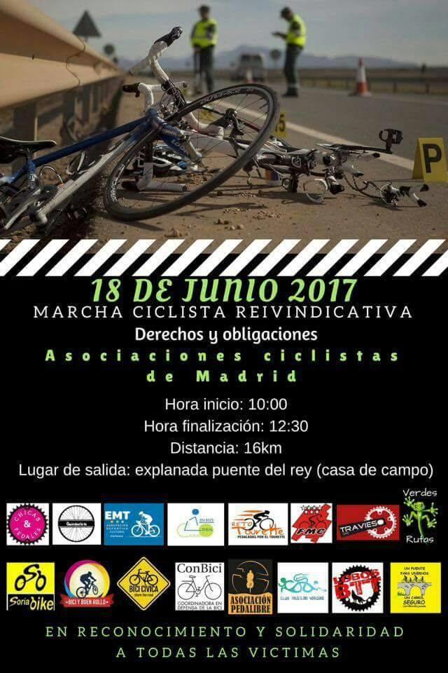 MARCHA CICLISTA EN RECONOCIMIENTO Y SOLIDARIDAD CON TODAS LAS VÍCTIMAS. Domingo 18 de junio – Salida: 10h Puente delRey