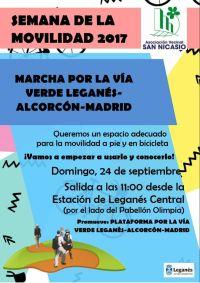 Cartel: Marcha por la Vía Verde Leganés-Alcorcón-Madrid