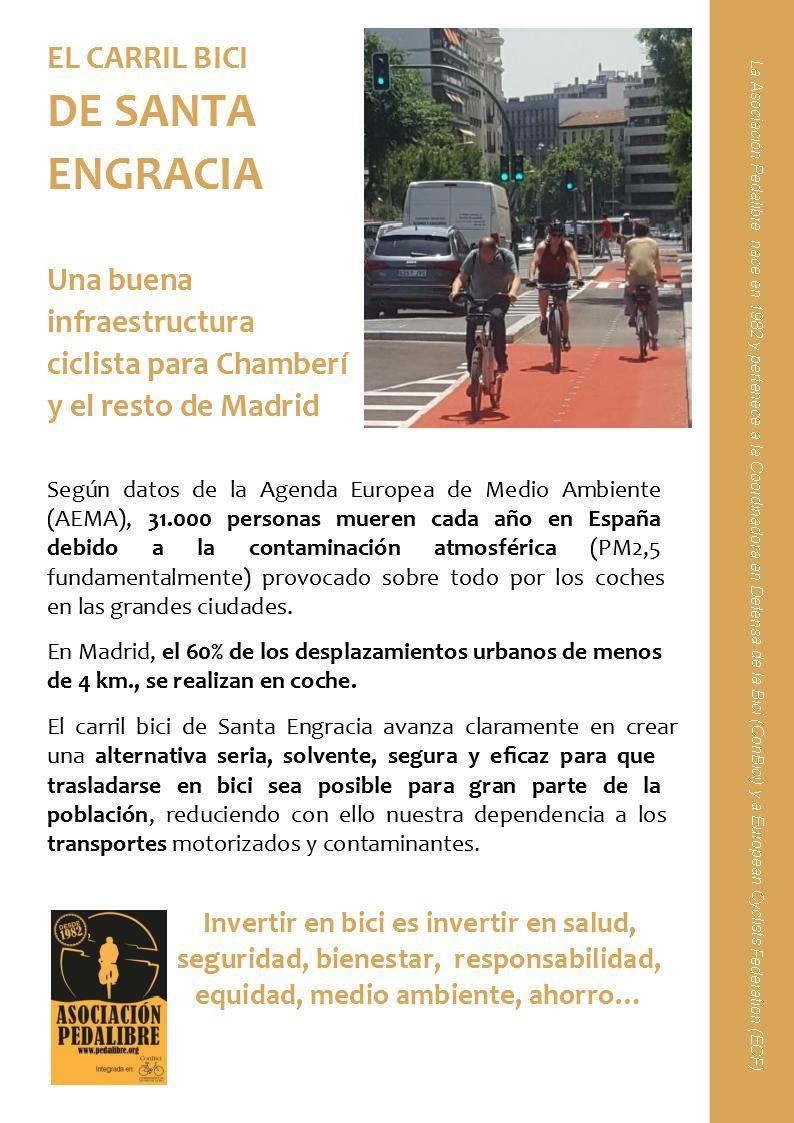La ciudadanía de Chamberí apoya el carril bici de SantaEngracia