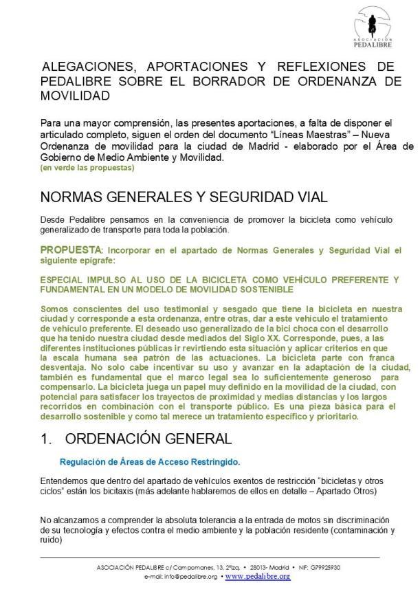 ALEGACIONES AL PROYECTO DE ORDENANZA DE MOVILIDAD. Feb 2018 -1(1)(1). Feb 2018 -1(1