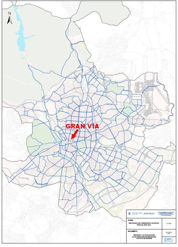 Red ciclista Básica señalando la Gran Vía