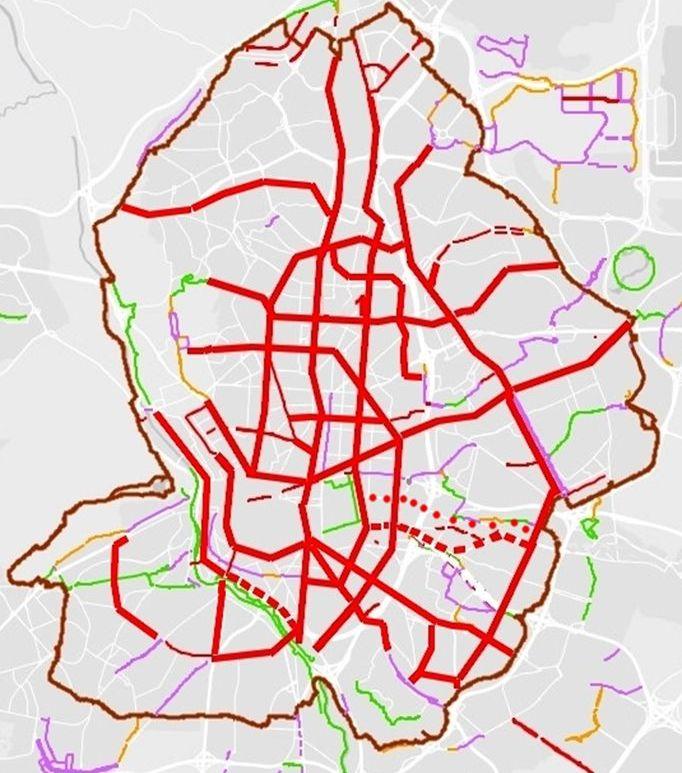Mapa de la Red ciclista propuesta por Pedalibre para 2021