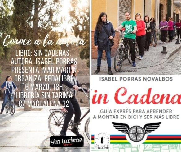7c031f015356 Presentación del libro Sin Cadenas por su autora Isabel Porras en el sótano  de la librería Sin Tarima el próximo miércoles