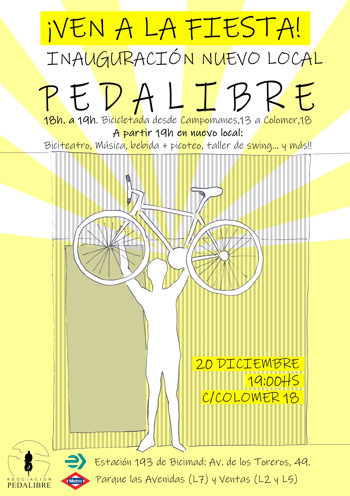 El próximo 20 de diciembre: Fiesta inauguración nueva sede dePedalibre
