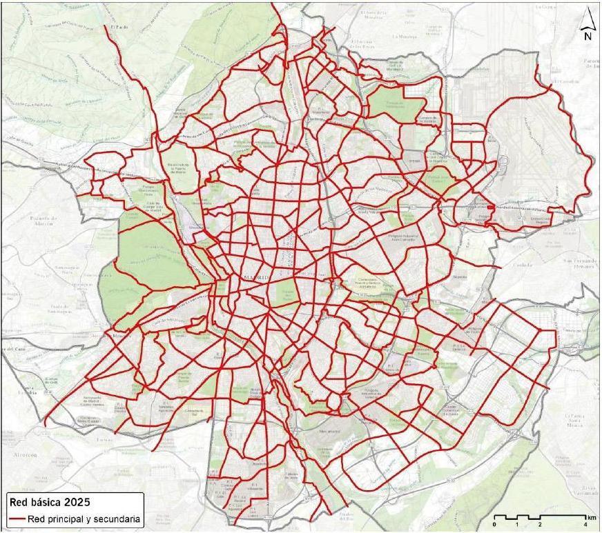 Red Ciclista Básica del Plan Director de Movilidad Ciclista de Madrid del Ayuntamiento de Madrid (2017)