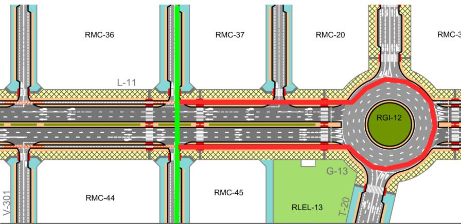 Intersección de dos calles en T en la que se muestra que para hacer un giro a la izquierad, las bicis han de desviarse 100m, dar media vuelta en una rotonda de 4 carriles sin infraestructura ciclista y volver a recorrer los mismos 100m
