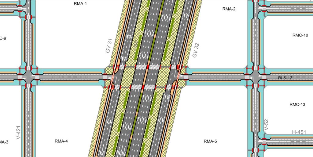 Cruce de una calle con la Gran Vía del Sureste en la que no hay ninguna posibilidad para las bicis de seguir recto.