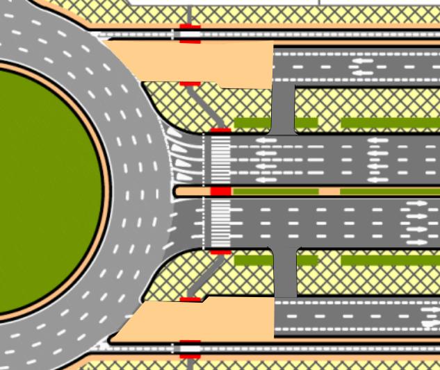 Propuesta para las rotondas de la Gran Vía del Suroeste, en donde se elimina el acceso a la vía de servicio desde las rotondas para acceder directamente desde la calzada pincipal.