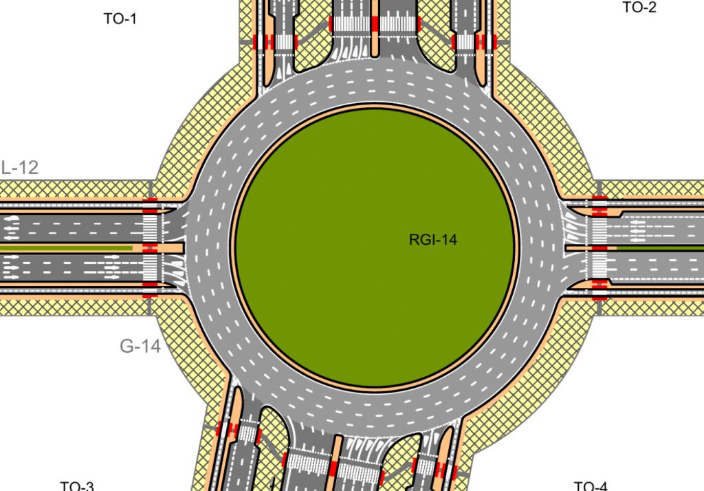 Rotonda en el desarrollo de los Ahijones. Tiene 100m de diámetro, cuatro carriles y en ella desembocan 2 avenidad, una de 6 carriles y otra de 12 carriles.