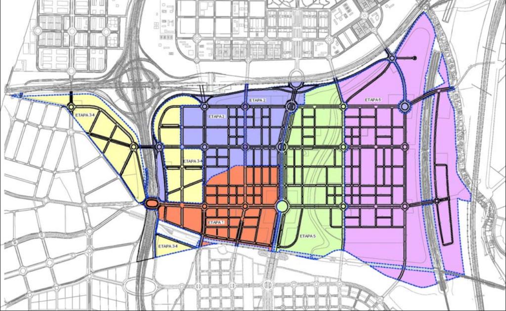 Plano con los viales planificados para el desarrollo urbanístico de los Ahijones