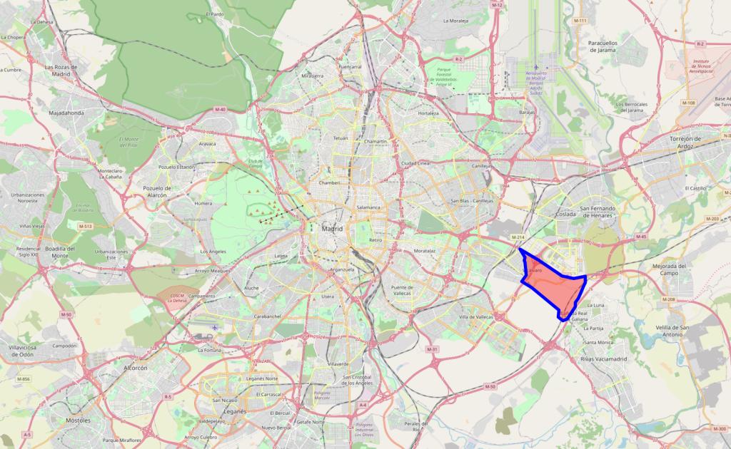 Plano de Madrid en el que se puede ver la situación del proyecto urbanístico de los Ahijones, en el distrito de Vicálvaro. Se encuentra encajonado entre las vías del metro de la línea 9 de metro, la M-50, la R-3 y la M-45