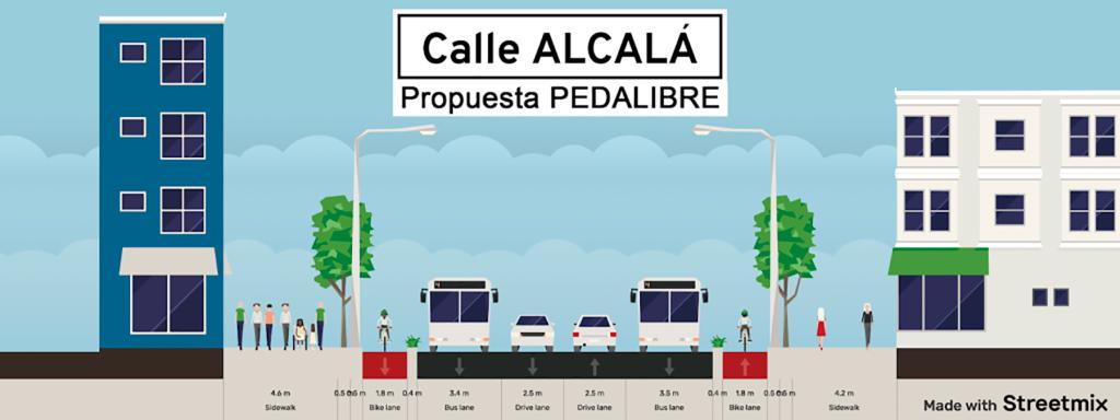 Propuesta de la sección de via con dos carriles bici, dos de bus y dos de coche